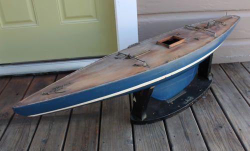 Antique Vintage Wood Wooden Model Sailboat Pond Boat Yacht Ship 50