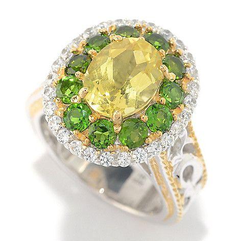 152-438 - Gems en Vogue 4.18ctw Yellow Beryl, Chrome Diopside & White Zircon Ring
