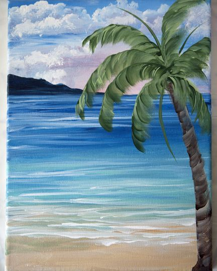 To Conclude This One Stroke Painting Course Complete This Beautiful Tropical Landscape Paint Palm Trees Painting Canvas Painting Landscape Landscape Paintings