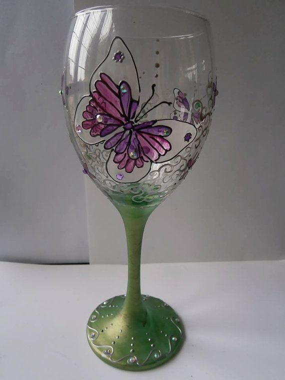 Pretty pink butterfly wine glass  Hand painted  Personalized  Gift for her  Butterfly glassware