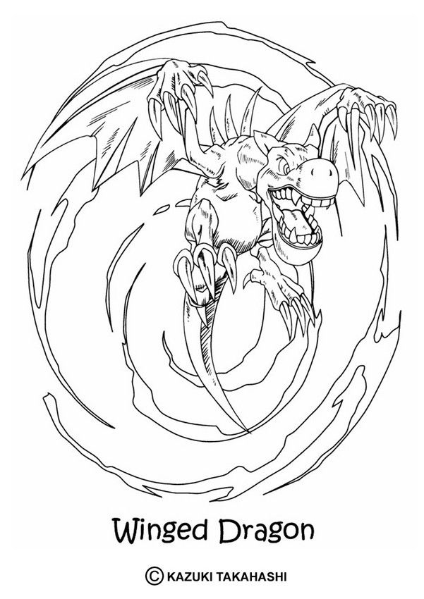 Yu Gi Oh Coloring Page Enjoy Coloring The Winged Dragon Coloring Page Dragon Coloring Page Coloring Pages Cartoon Coloring Pages