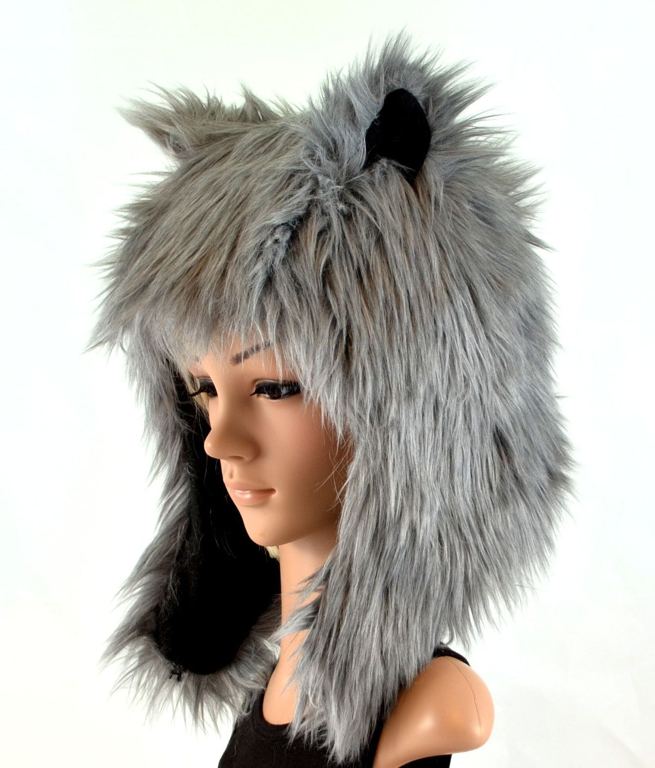 fd2107bb2f3 This gray wolf hat is made of a super soft gray faux fur and it is