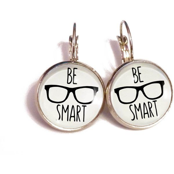 "Nerd earrings, hipster ""be smart"" glasses jewelry, funny geek... (€12) ❤ liked on Polyvore featuring jewelry, earrings, black white earrings, earring jewelry, black and white earrings, black white jewelry and black and white jewelry"