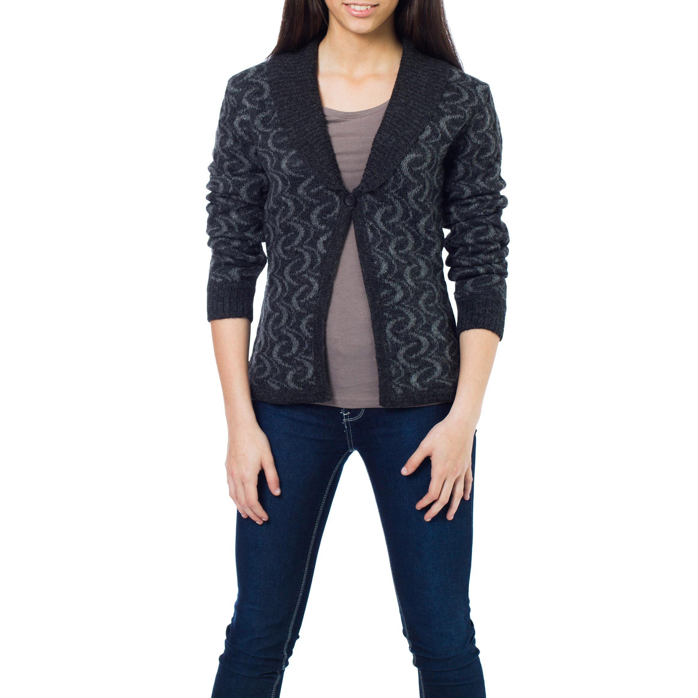 Novica Alpaca 'Evening Shadows' Cardigan Sweater | sweater ...