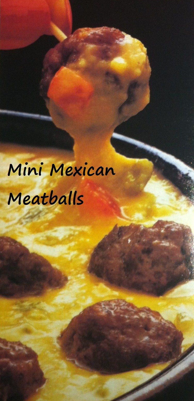 Mini Mexican Meatballs A Crowd Pleaser in 15 MINUTES!! http://100waystopreparehamburger.blogspot.ca/2013/05/mini-mexican-meatballs.html