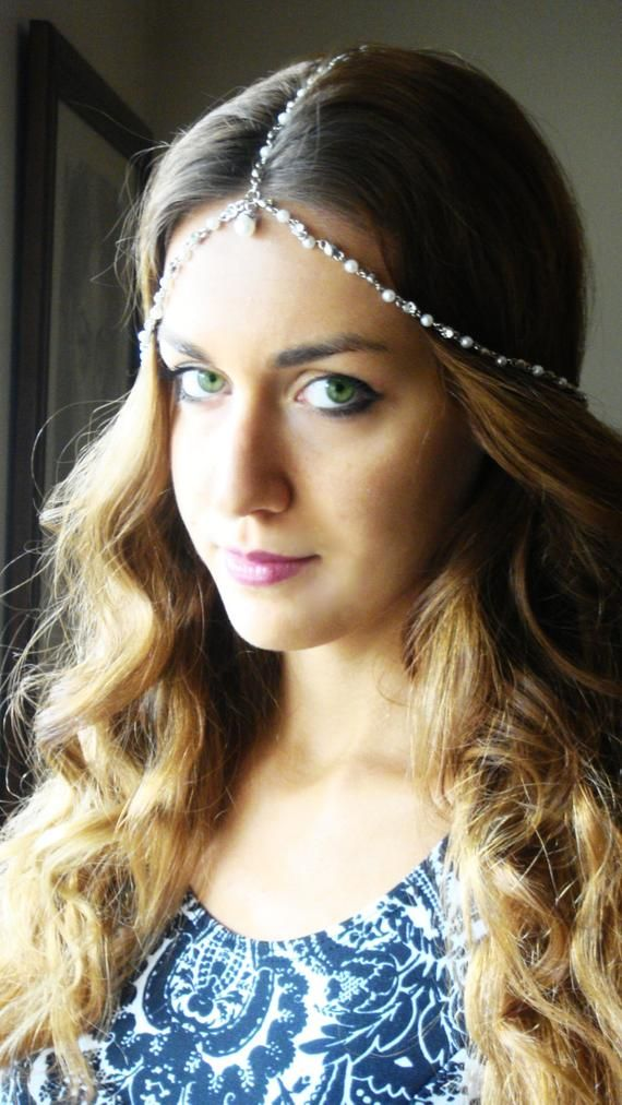 Bohemian Silver Pearl Head Chain Headpiece, Vintage Head chain, Headdress Gypsy Head Piece. Bohemian jewelry. Wedding Head chain