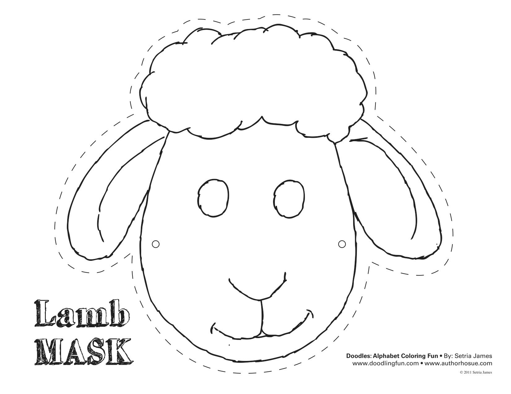 Lamb mask theatrics kiddos play craft coloring for Dog mask template for kids