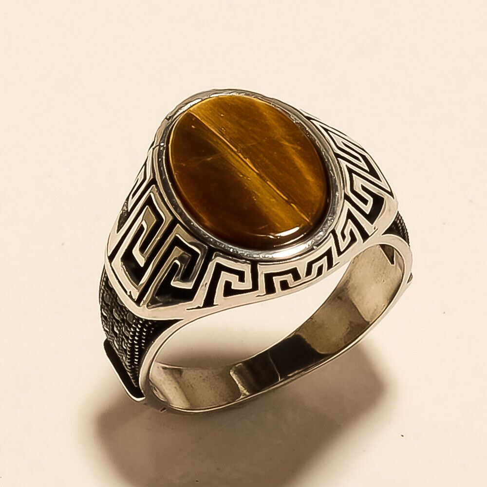 Natural Brazilian Tiger Eye Ring 925 Sterling Silver Handmade Easter Fine Jewelry Gifts Statement Designer Fathers Day Wedding Gifts Jewelry