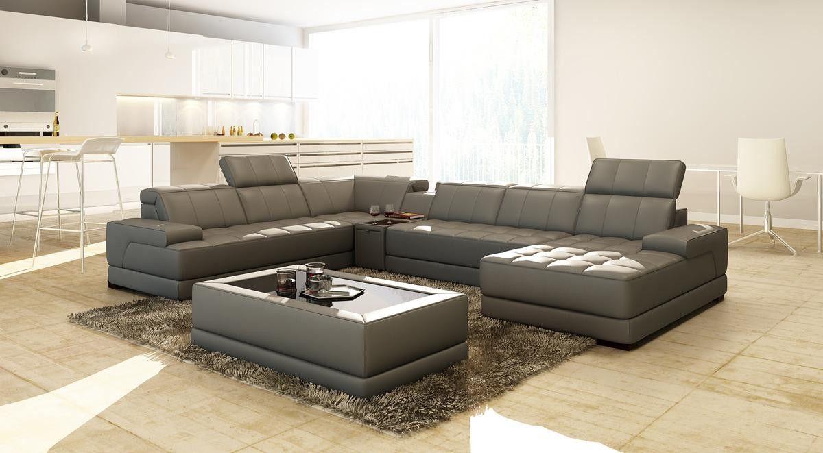 Divani Casa 5105 Modern Bonded Leather Sectional Sofa W/ Audio ...