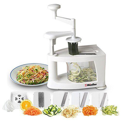 Brieftons 5 Blade Spiralizer Strongest And Heaviest Duty Vegetable Spiral Slicer Best Veggie Pasta Spaghetti Ma Best Spiralizer Veggie Spiralizer Pasta Maker