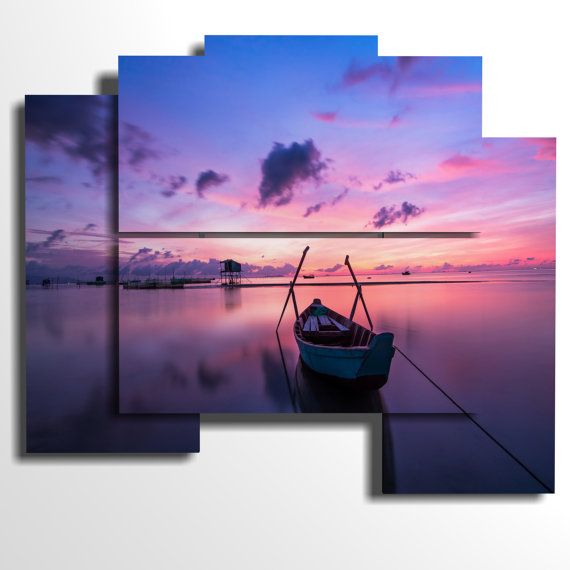 Multipanel and multilevel picture - 89x77 cm - Sunset