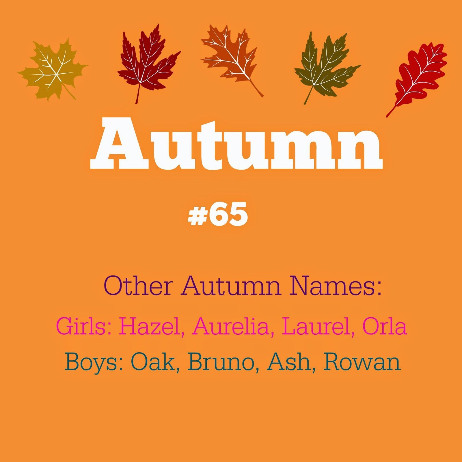 Calendar Names (month and season names): Autumn #65, my
