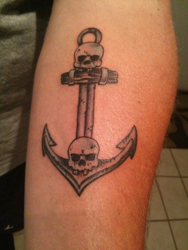 Skull and anchor tattoo Props to Jeremy at TRX tattoo and Piercing ...