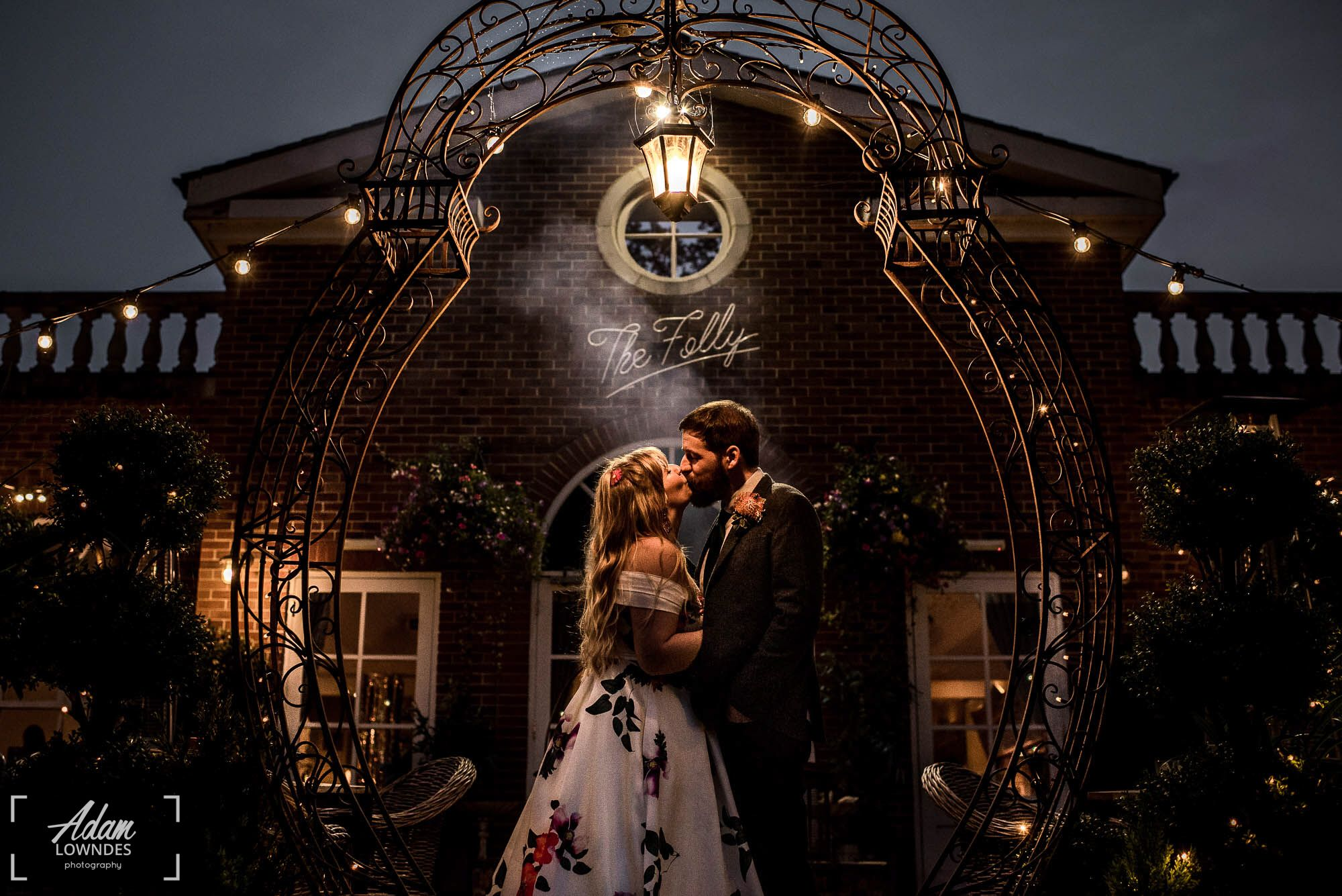 Bride and Groom nighttime couples portrait at the