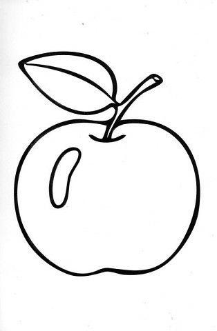 Яблоко. Раскраска малышам. #раскраска_яблоко #шаблон ...