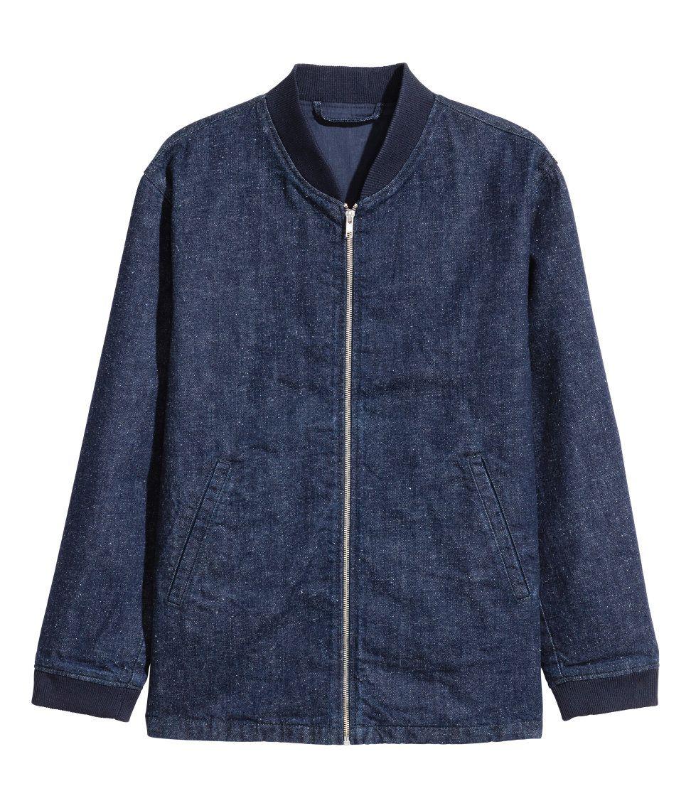 86f556287 Denim Bomber Jacket | H&M For Men | H&M MAN | Denim bomber jacket ...