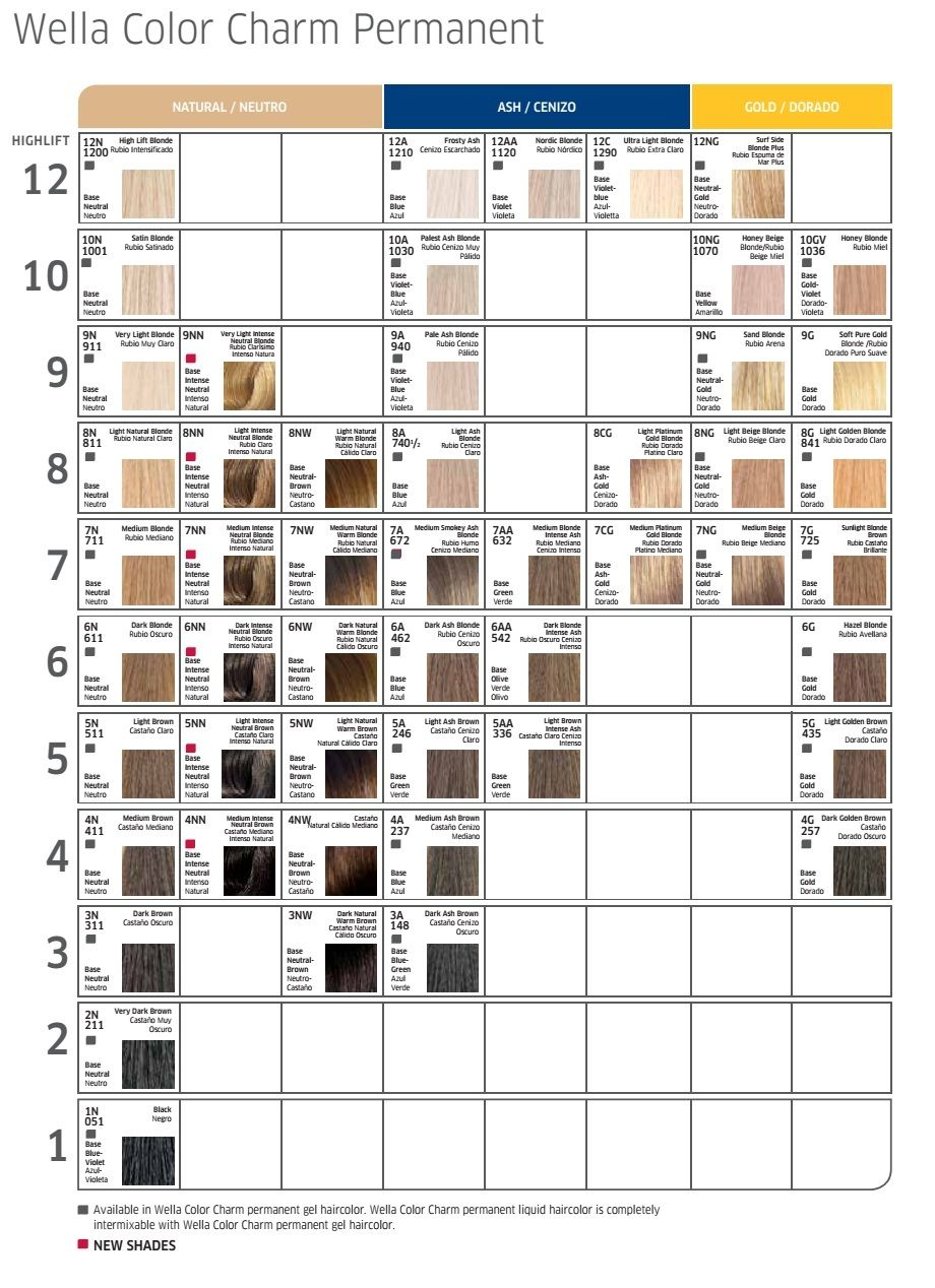 Pin By Cindy Clifton On Meches Hair Dye Color Chart Wella Color Charm Hair Dye Colors