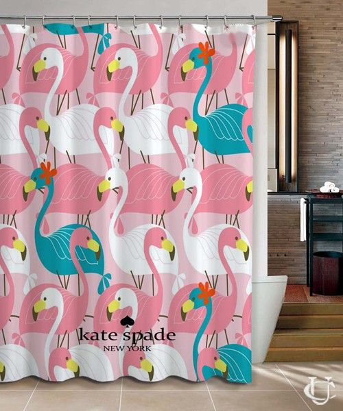 New Hot Flamingo Pink Kate Spade Shower Curtain Cute Shower