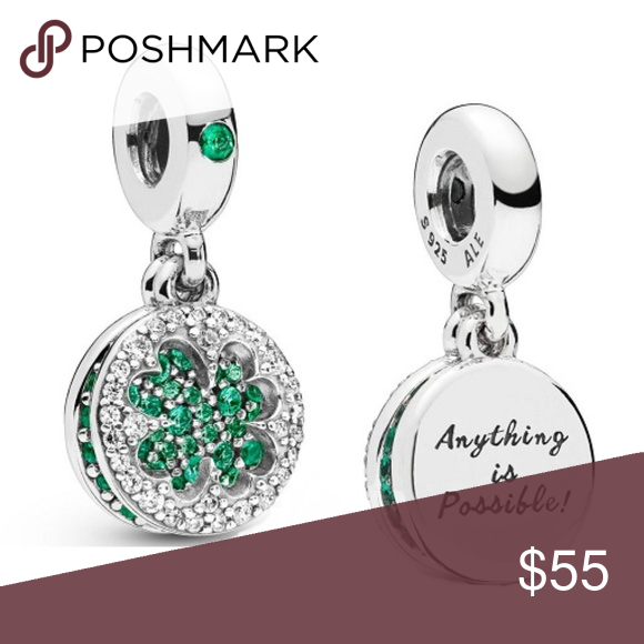 ac45bc380 Pandora Dazzling Clover Charm This charm is sterling silver and stamped.  This charm is a double dangle with green stones that is shaped into a four  -leaf ...