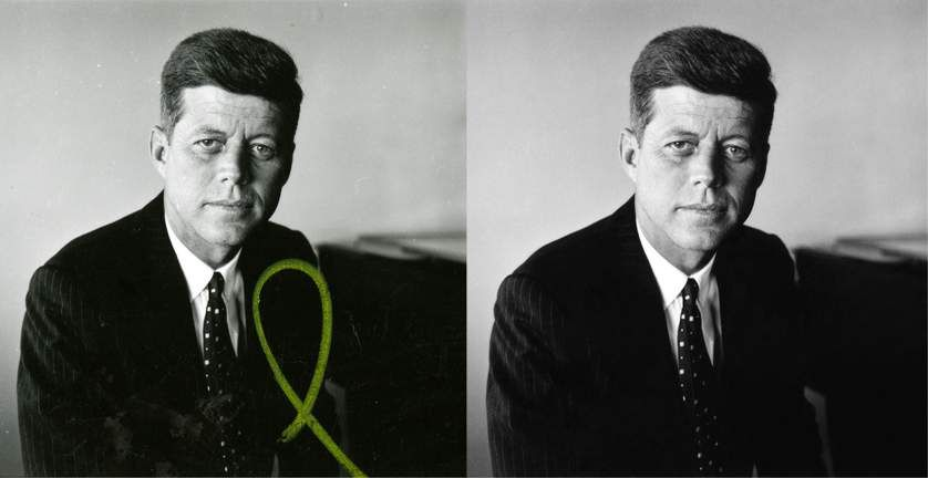"""This is Jacques Lowe's first portrait of John F. Kennedy, made during one of Kennedy's rare days off from his 1958 Senate re-election campaign. To restore this image for the Newseum's """"Creating Camelot"""" exhibit, the image was cleaned, the tone adjusted and the yellow mark removed."""