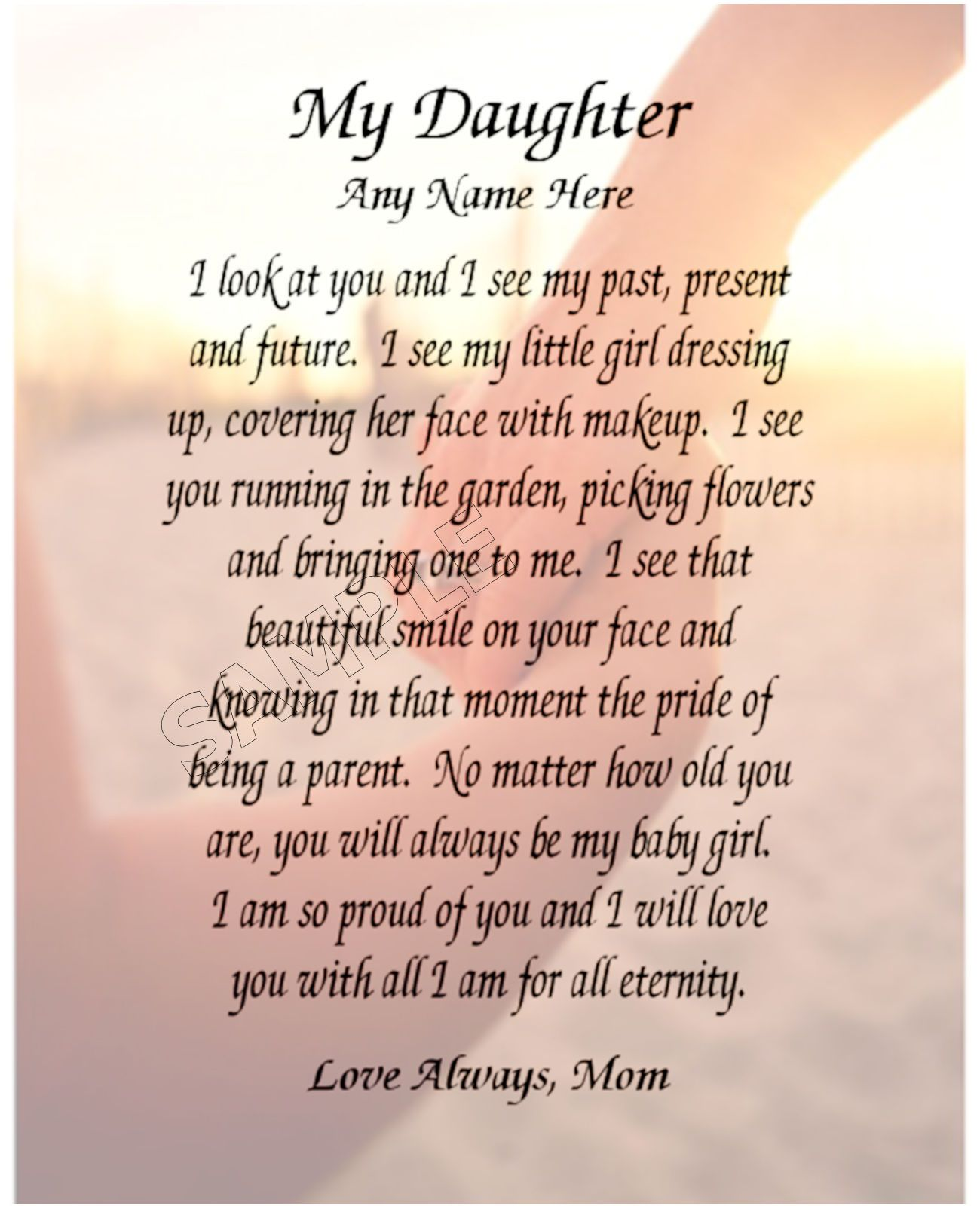 MY DAUGHTER PERSONALIZED ART POEM MEMORY BIRTHDAY GIFT