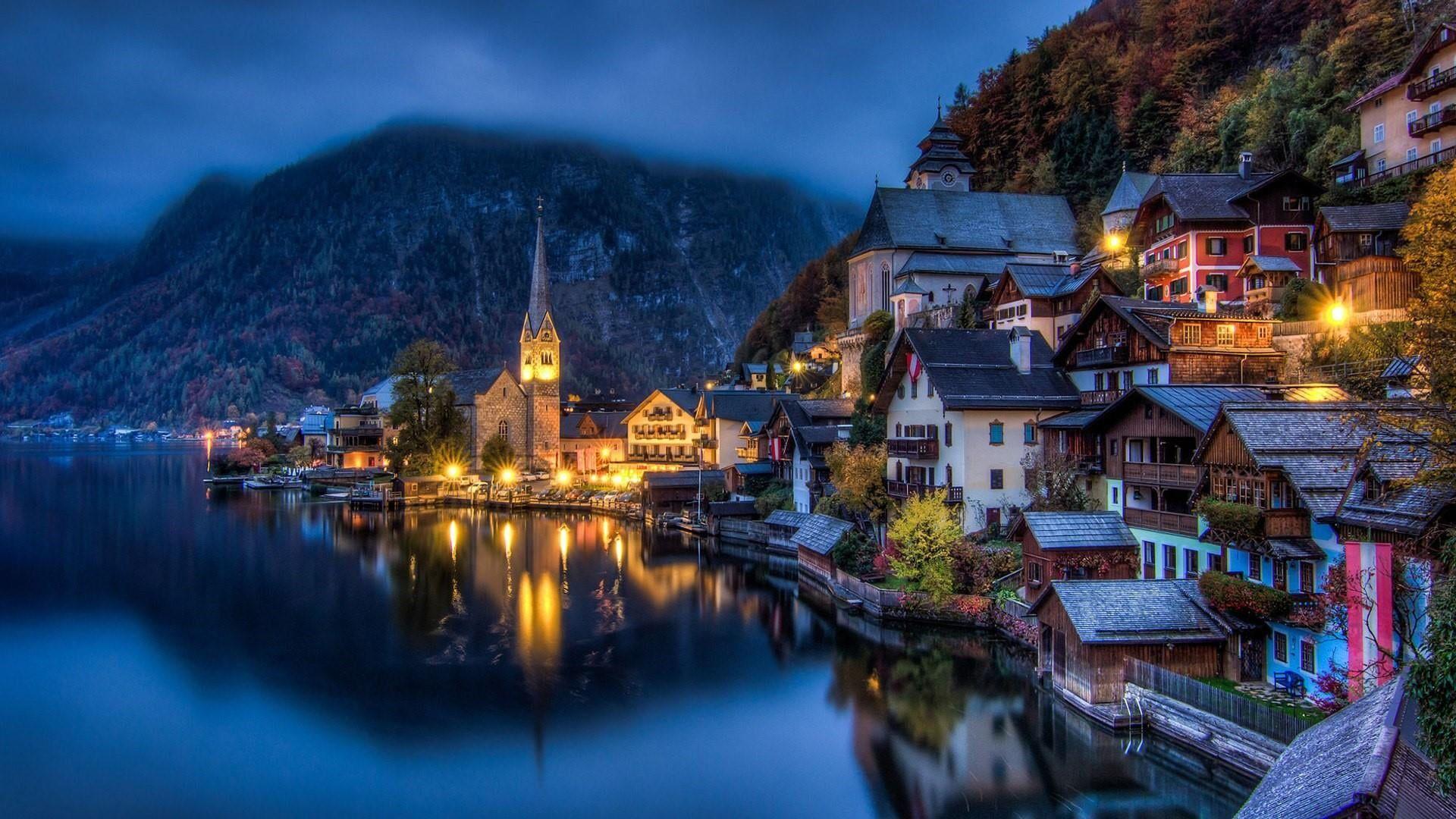 Cityscape Night Hallstatt See Lake Chruch Austria Village