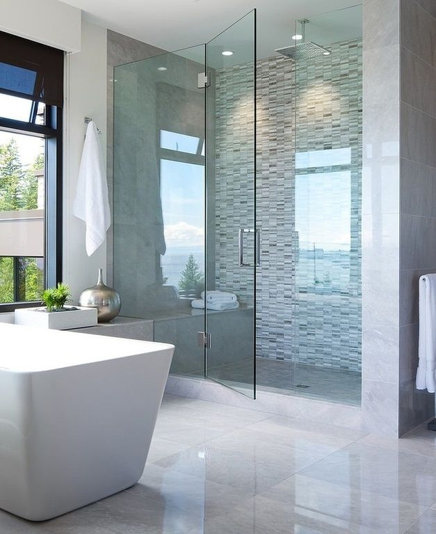 Contemporary Master Bathroom with Mountain home blanc 32x67-inch ...