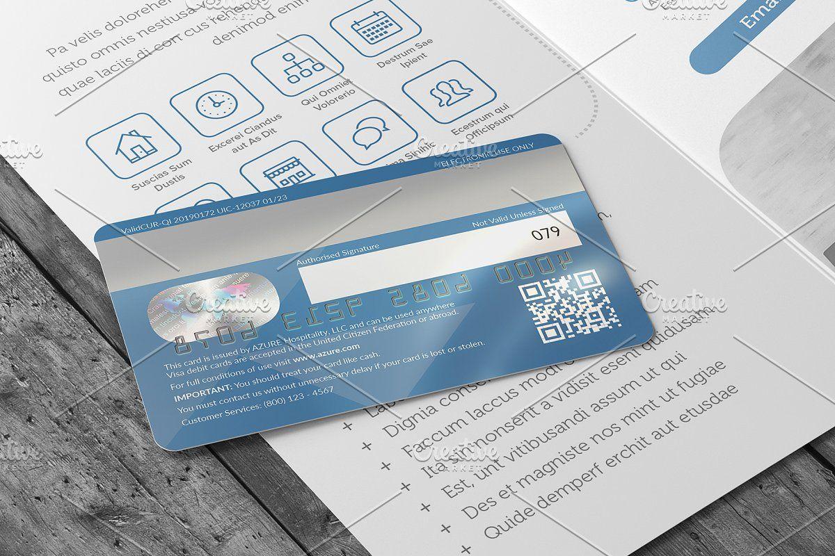 Azure Bank Card Card Template Card Templates Bank Card