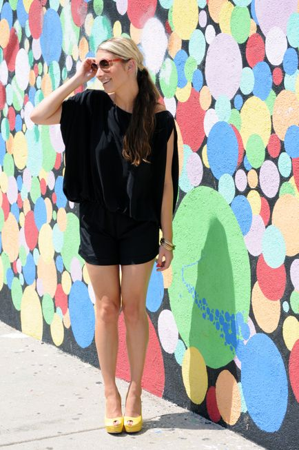 #inspiration, Karina Grimaldi romper, vintage Lanvin sunglasses, F21 bangles, Alexander McQueen pumps