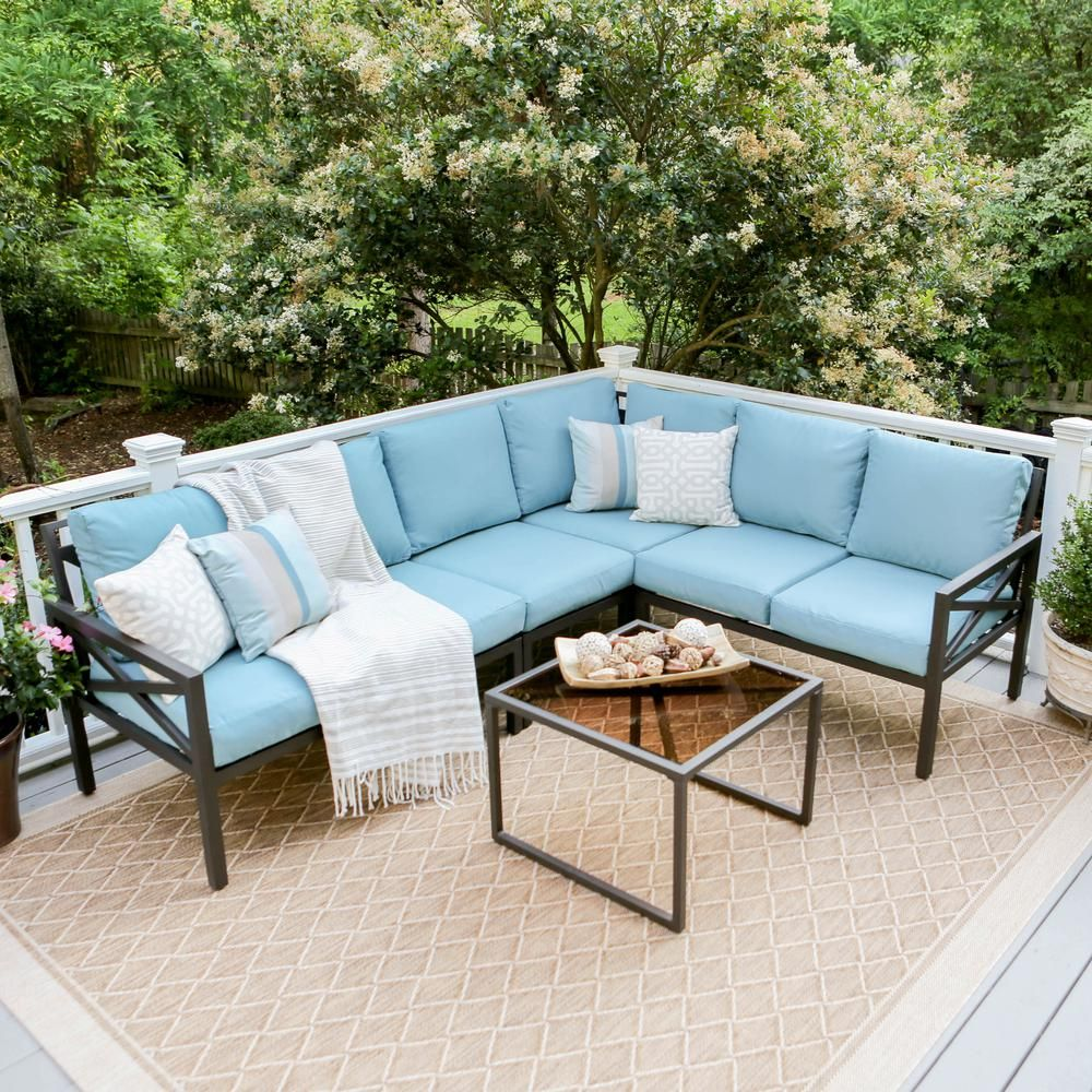 Leisure Made Blakely Black 5 Piece Aluminum Outdoor Sectional With