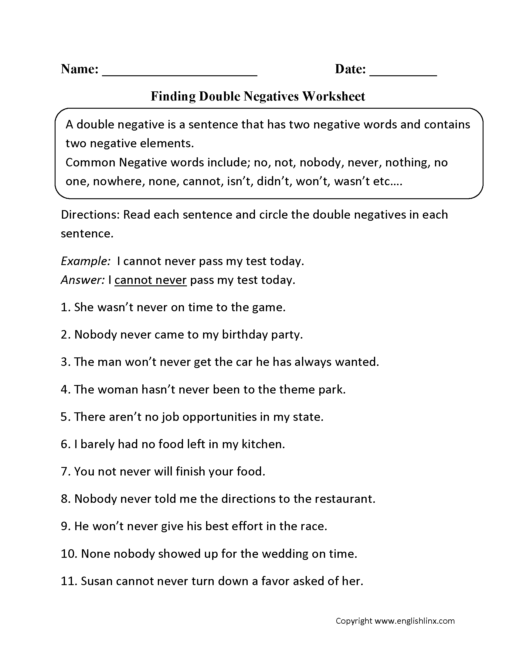 Finding Double Negatives Worksheet