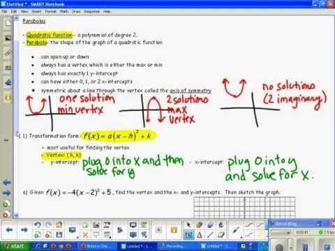 Section 33 Quadratic Function Forms Vertex And Intercepts