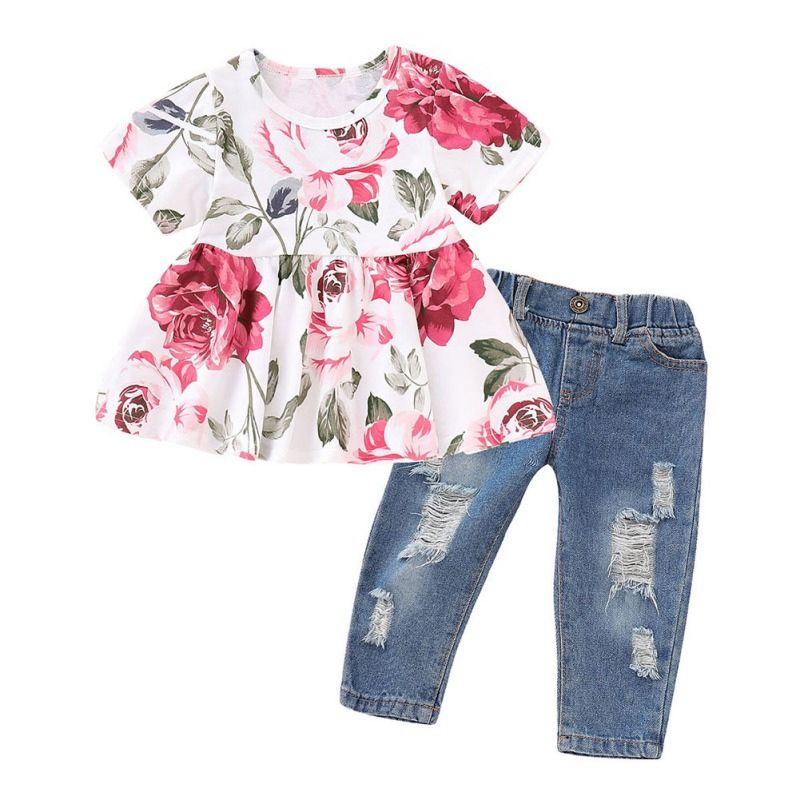 Girls Clothes Outfits Cute Baby Girl Floral Long Sleeve Infant Ripped Jeans Pant Set Flower Ruffle Top