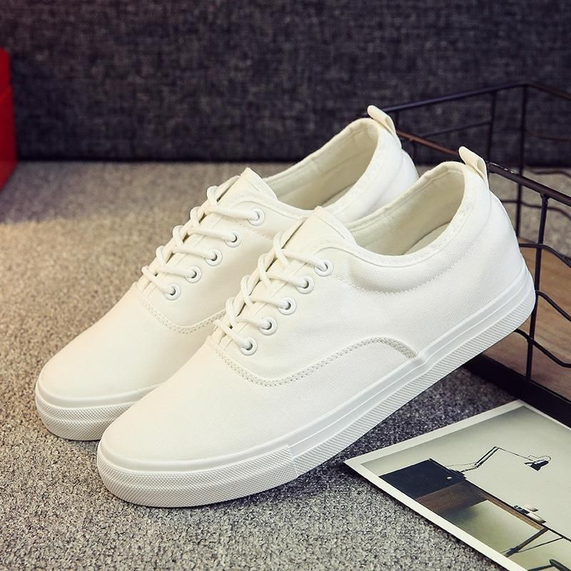 New Spring Summer Men Canvas Shoes Height Increasing Low White Men