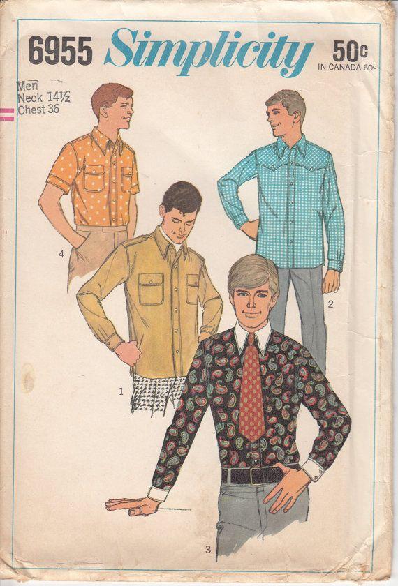 60s MENS SHIRT Dress Shirt Sewing Pattern Button Front UNCUT Classic ...