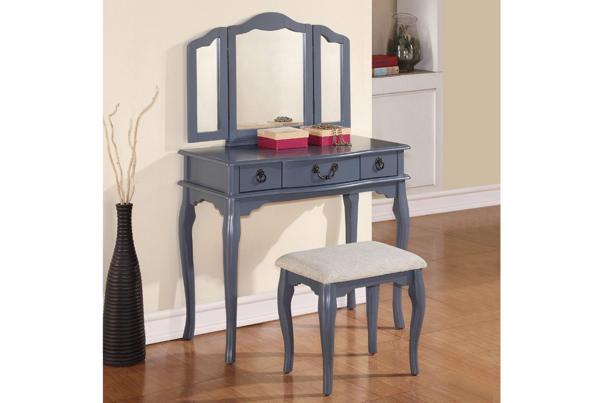 Poundex vanity set w stool f vanities and stools