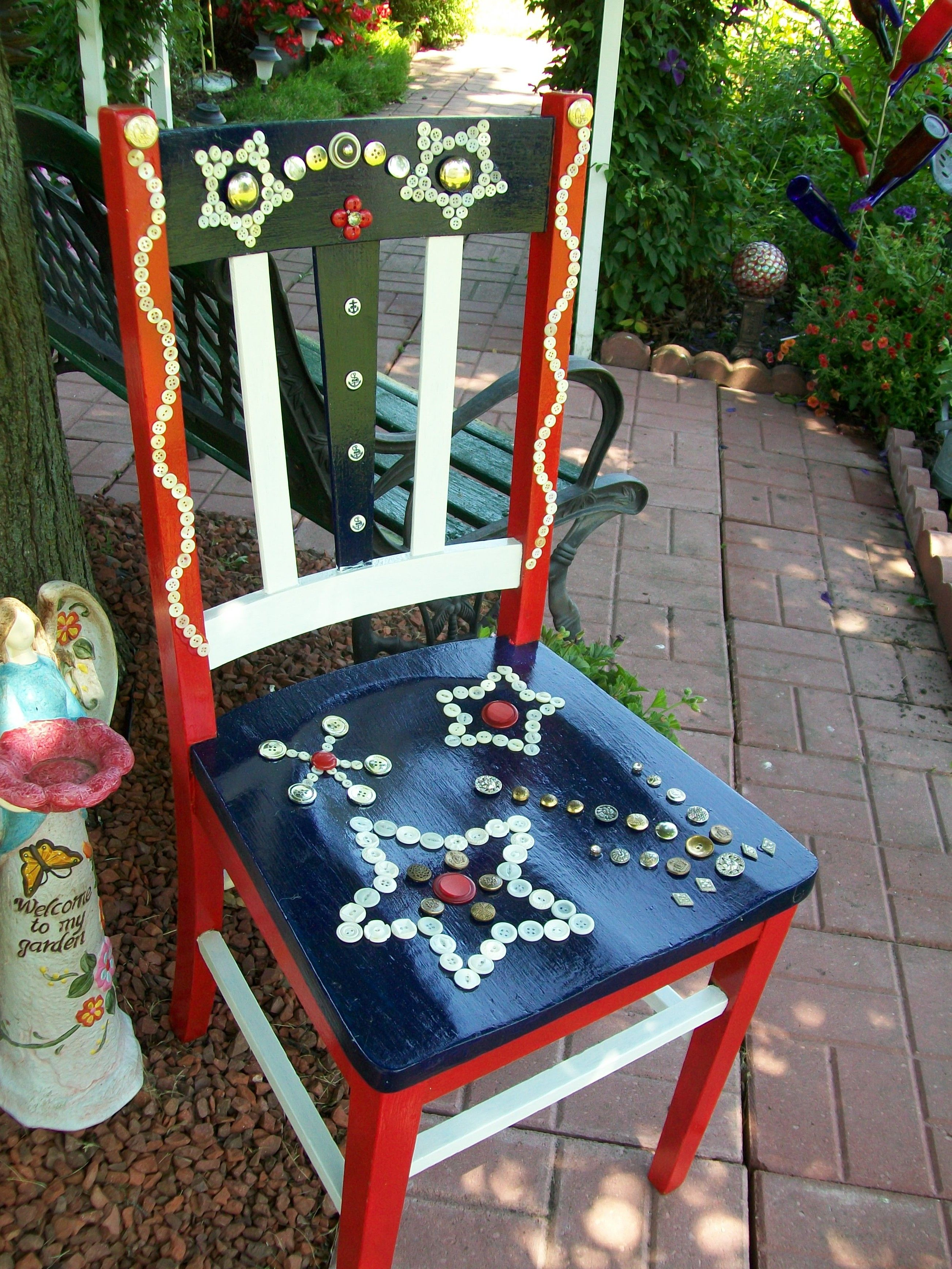 Yard Art   Red  white  blue   paint old chair  Design with buttonsYard Art   Red  white  blue   paint old chair  Design with buttons  . Red White And Blue Painted Furniture. Home Design Ideas