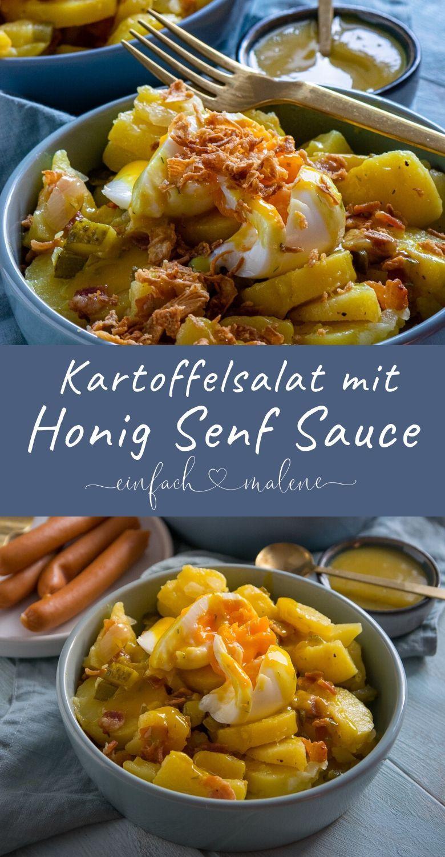 Einfacher Kartoffelsalat mit Röstzwiebeln & Honig Senf Sauce - Einfach Malene