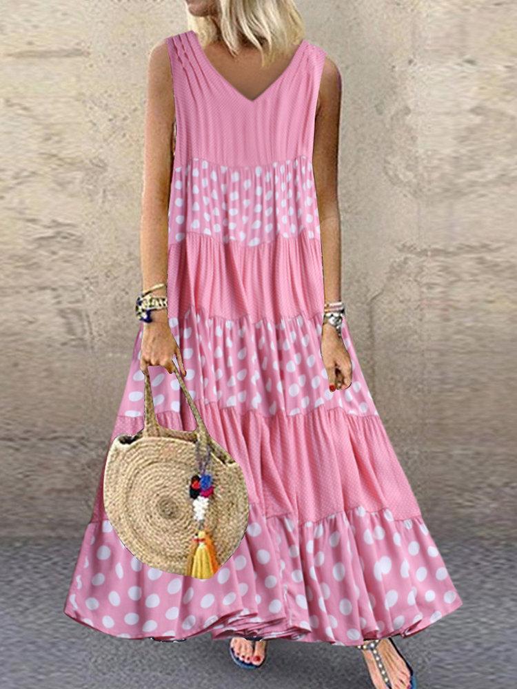 Photo of Fashion O-NEWE Polka Dot Patchwork V-neck Sleeveless Summer Plus Size Dress{ – N…