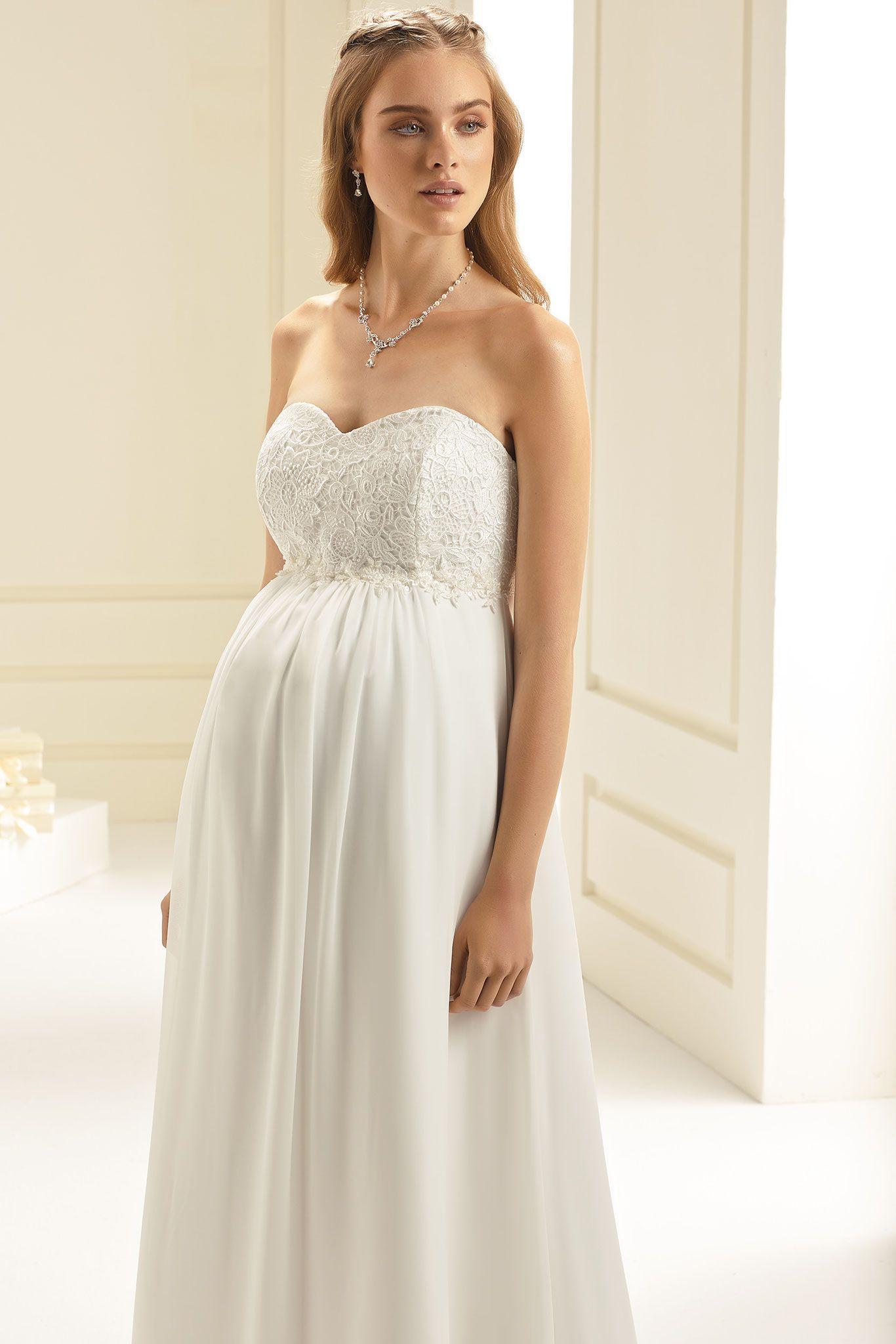 Umstands-Brautkleid aus hochwertigem Chiffon und Spitze. Bianca ...