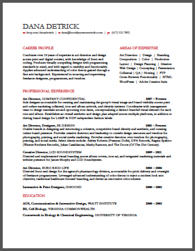 Creative  Sleek Resume Format  Los Angeles Resume Studio