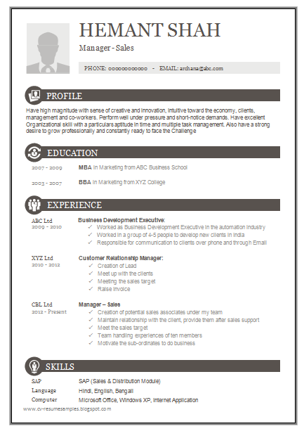 Over 10000 CV And Resume Samples With Free Download: One Page Excellent Resume  Sample For MBA   Sales U0026 Marketing More