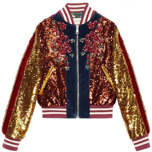 709607a83 Gucci Embroidered Sequin And Velvet Bomber ($8,500) ❤ liked on Polyvore  featuring outerwear, jackets, blue, gucci jacket, red velvet jacket, blue  velvet ...