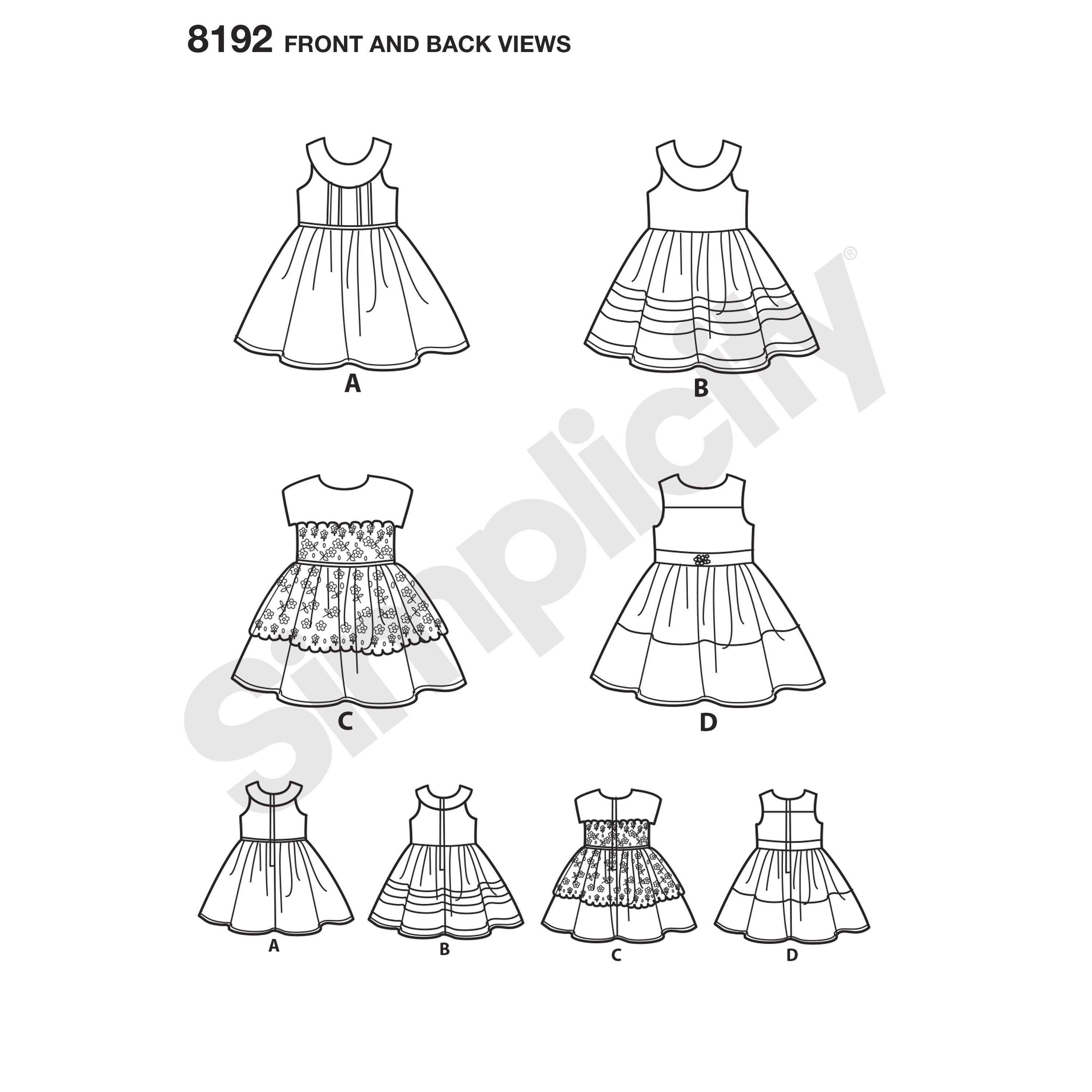 "American Girl sundresses for 18"" dolls. Pattern features dress with a full skirt and options for a yoke and piping, contrasting fabrics, belt or lace overlay. Simplicity sewing pattern."