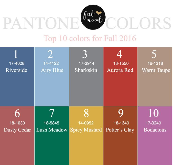 Pantone Has Released Its Top Ten Colors For Fall 2016 10 With
