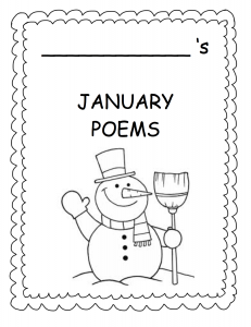 January poetry cover for Winter Word Fun First Grade