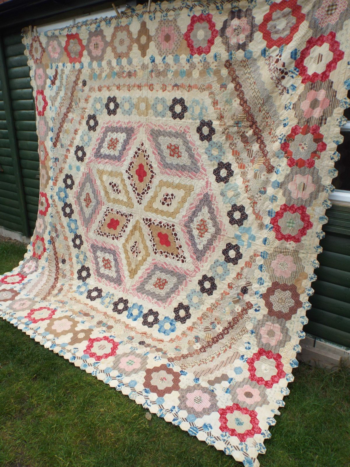 Details About Very Beautiful Antique Quilt Dated 1860