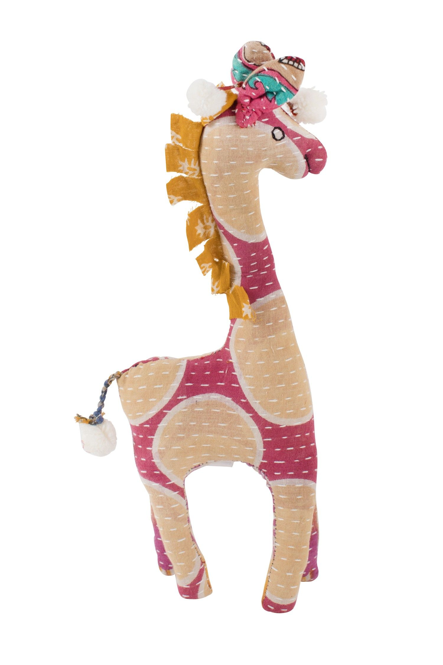 This sweet stuffed Giraffe features Kantha stitching and
