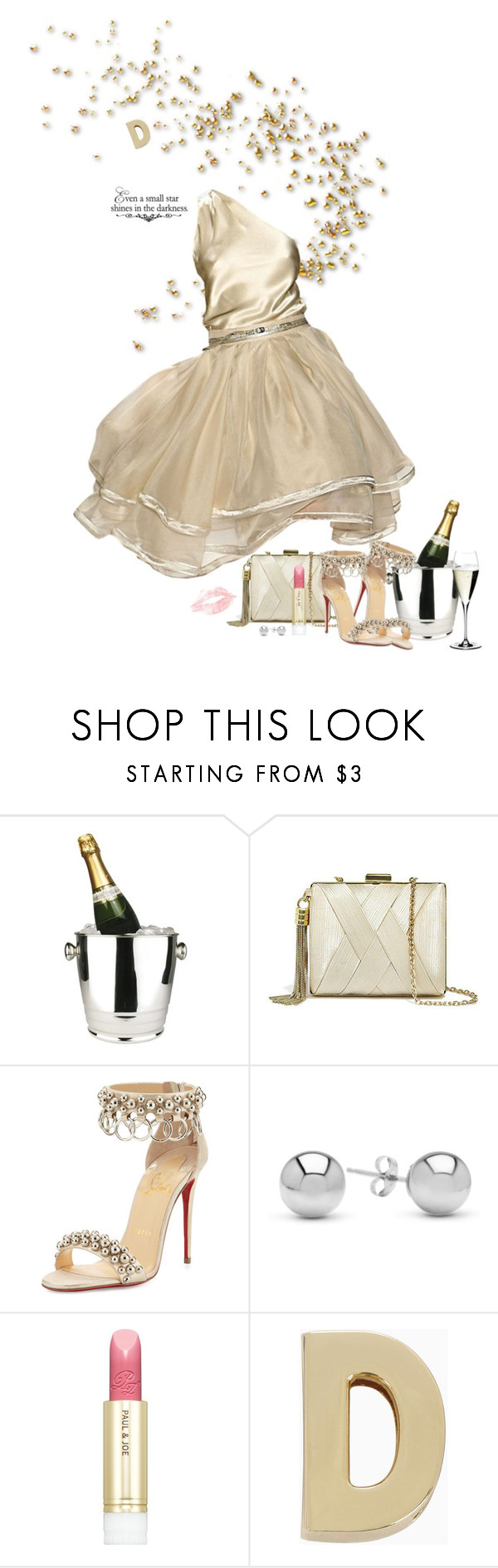 """""""Champagne Kisses"""" by duci ❤ liked on Polyvore featuring Winco, GUESS by Marciano, Dennis Basso, Christian Louboutin, WALL, Jewelonfire, Paul & Joe, BCBGeneration and Riedel"""