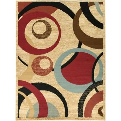 Ottomanson Contemporary Abstract Beige 8 Ft X 10 Ft Area Rug Ryl1182 8x10 The Home Depot Area Rugs Geometric Area Rug Circle Rug